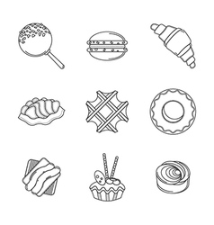 Line confectionery icons vector