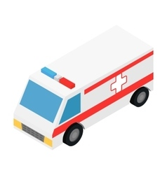 Ambulance isometric 3d icon vector