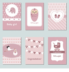 Collection of cute baby girl card vector