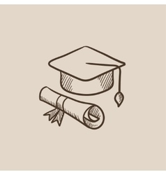 Graduation cap with paper scroll sketch icon vector