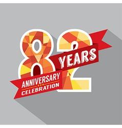 82nd Years Anniversary Celebration Design vector image