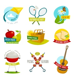 Summer picnic objects set outdoor holiday activity vector