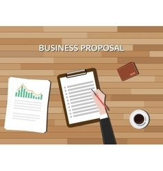Business proposal document with clipboard graph vector