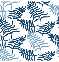 Tropical jungle palm leaves blue color pattern vector
