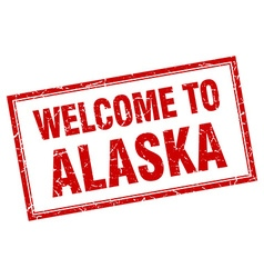 Alaska red square grunge welcome isolated stamp vector
