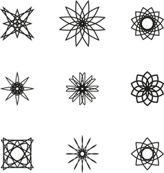 A set of nine black spiral logo on white vector image