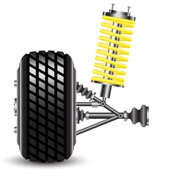 Front car suspension frontal view vector