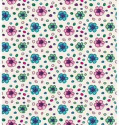 Funny colorful seamless pattern with flowers vector