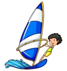 A boy enjoying the watersport vector