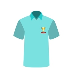 Blue T-shirt with the image of the cup for first vector image vector image