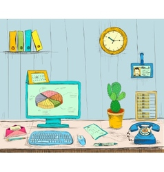 Business workplace office interior desk vector image vector image