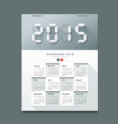 Calendar 2015 number paper digital design vector