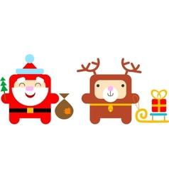 Cartoon Santa Claus and Reindeer vector image vector image
