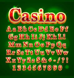 casino golden english alphabet font vector image