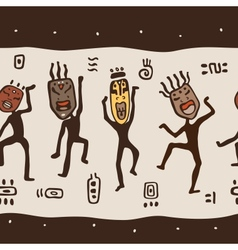 Dancing figures wearing african masks vector