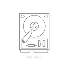 Flat line computer part icon - hard drive vector