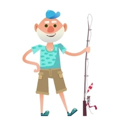 Funny senior fisherman vector image
