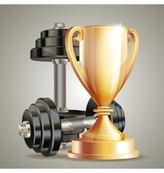 Gold cup with metal realistic dumbbells vector
