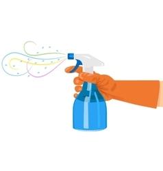 Hand holding a spray bottle vector