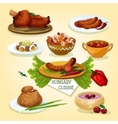 Hungarian cuisine signature dishes icon vector