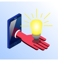Isometric smartphone showing hand with light bulb vector image