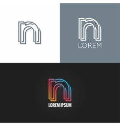 letter N logo alphabet design icon set background vector image