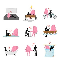 Love and brain set Man and mind in movie theater vector image vector image