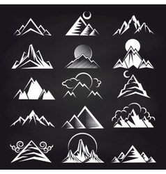 Mountain silhouettes on blackboard background vector