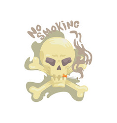 No smoking sign with skull and bones bad habit vector