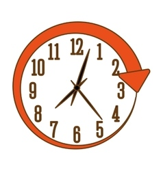 Orange wall clock icon image vector