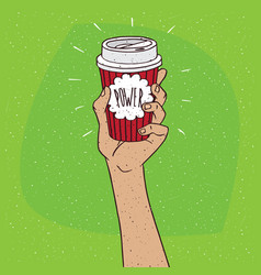Power on paper cup of coffee vector