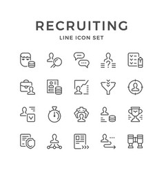 set line icons of recruiting vector image