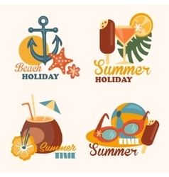 Set of Beach Holiday and Summer Elements vector image