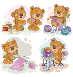 set of clip art of teddy vector image vector image