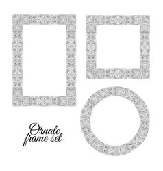 Set of floral doodle frames on white background vector