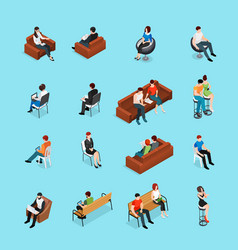 Sitting people characters set vector