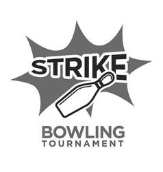 Strike bowling tournament monochrome logotype with vector