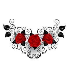 Symmetrical tattoo of red roses vector
