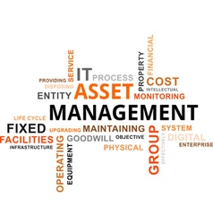 Word cloud asset management vector