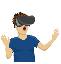 Young teenager boy looking in vr goggles vector
