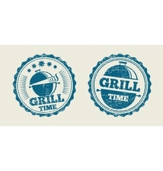 Bbq grill barbecue vintage steak menu seal stamp vector