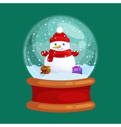 Christmas snowman holding present in globe glass vector