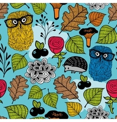 Seamless pattern with forest plants and animals vector