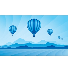 Air balloon in the blue sky vector