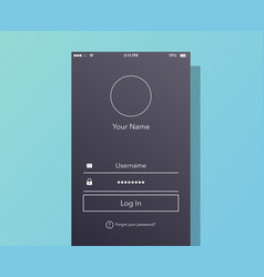 Interface login on phone screen vector