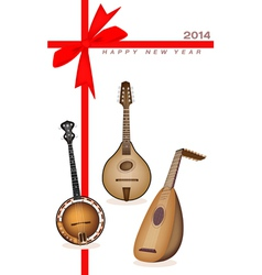 New year gift card of musical instrument strings vector