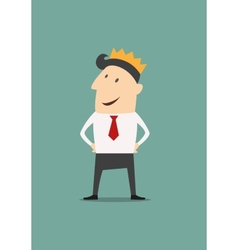 Cartoon businessman wearing a crown vector