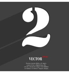 Number two icon symbol flat modern web design with vector