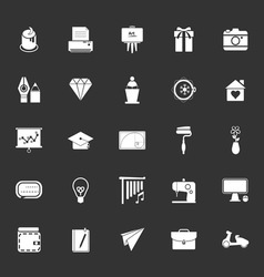 Art and creation icons on gray background vector image