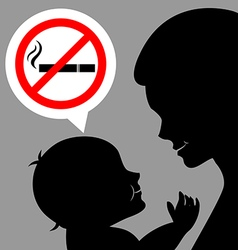 Mom and baby with a prohibiting smoking sign vector